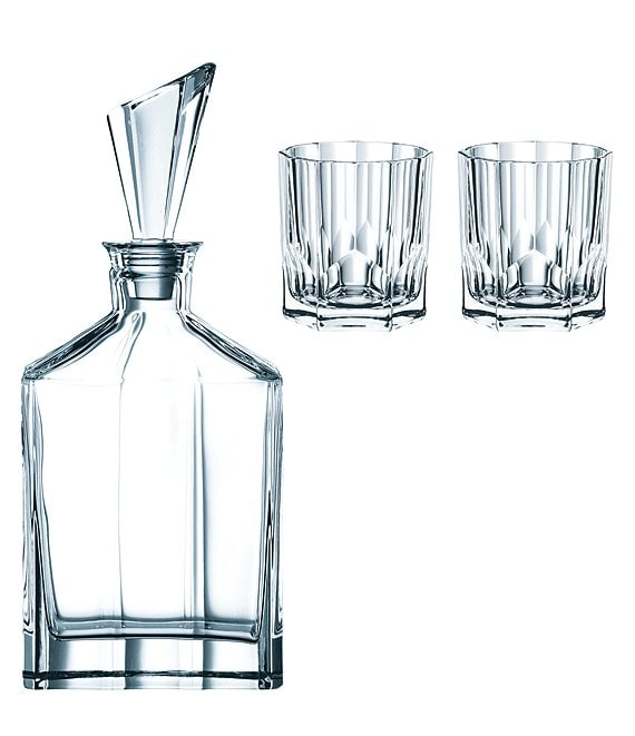 Nachtmann Aspen Opulent Decanter And Whiskey Glasses Set With 3 Dillard S