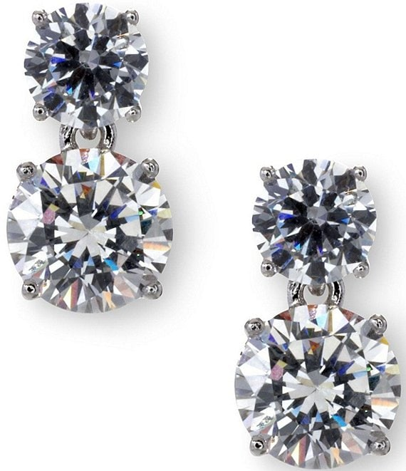 Color:Silver - Image 1 - Cubic Zirconia Round Drop Earrings