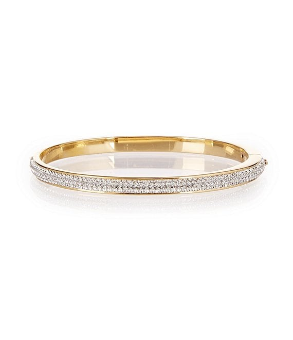 Color:Gold/Rhodium - Image 1 - Honey Pavé and Brass Bangle