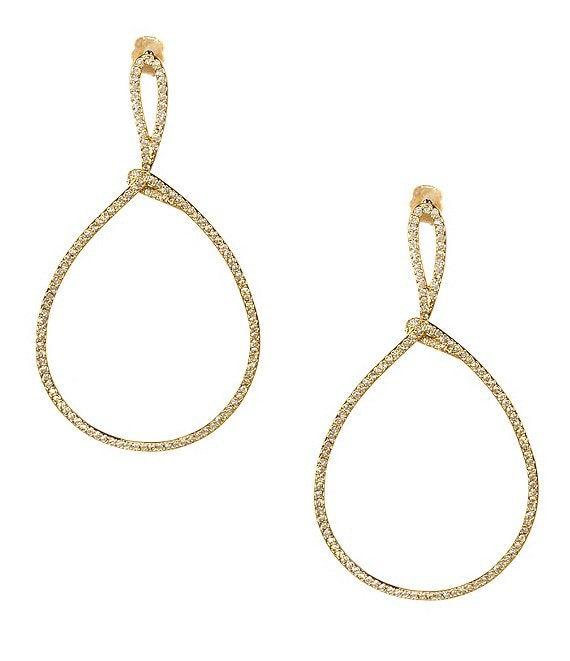 Nadri Lupita Pavé Drop Hoop Earrings