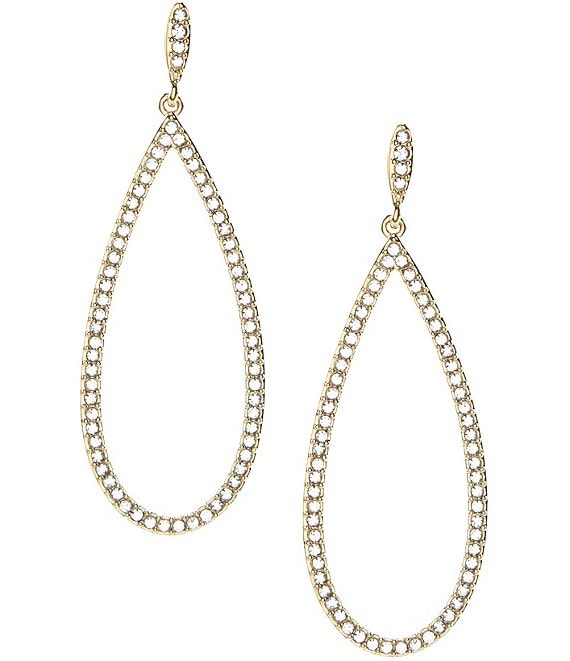Color:Gold/Crystal - Image 1 - Open Teardrop Pave Statement Earrings