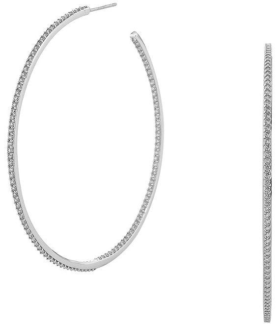 Color:Silver - Image 1 - Pavé Large Hoop Earrings