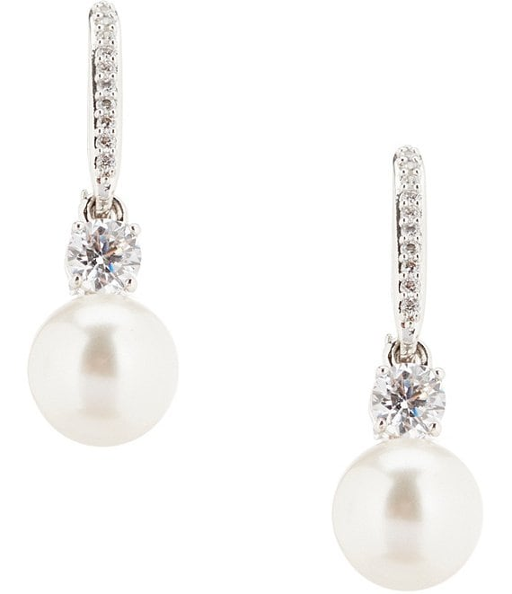 Color:Clear - Image 1 - Faux-Pearl Drop Earrings