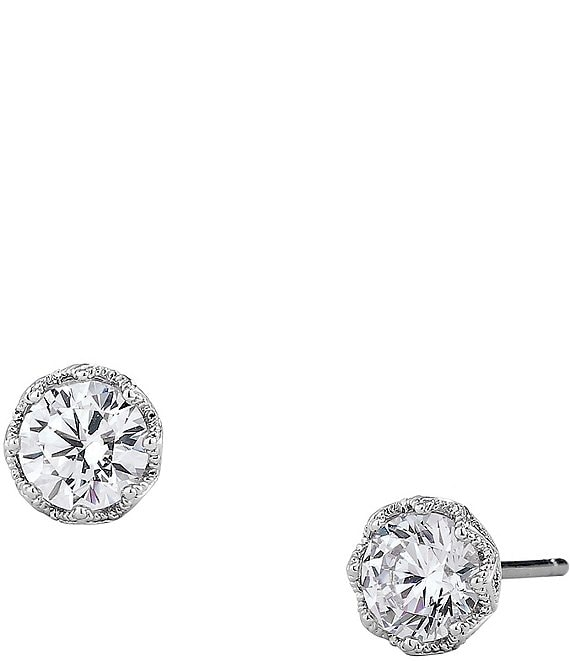 Color:Silver - Image 1 - Round Stud Earrings