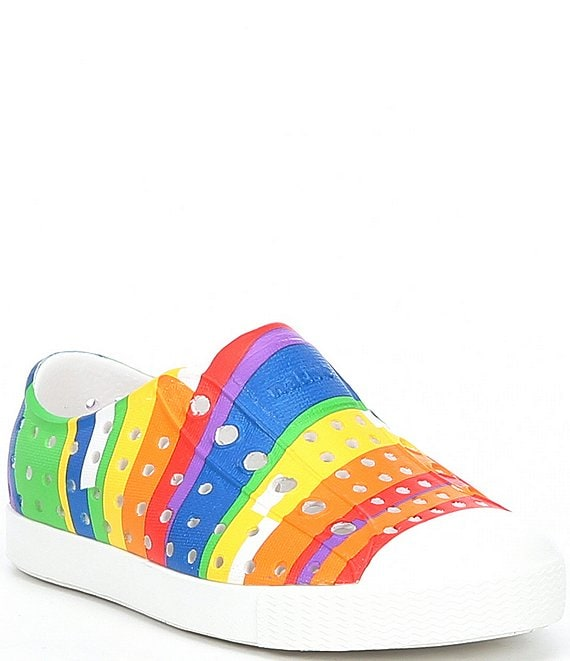Color:Shell White/Shell White/Rainbow Multi Stripe - Image 1 - Kids' Jefferson Print Sneakers (Infant)