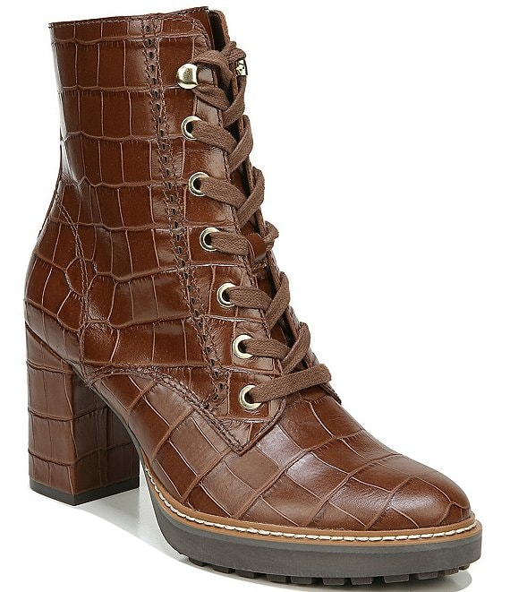 Color:Brown Croc - Image 1 - Callie Croc Embossed Leather Hiker Boots