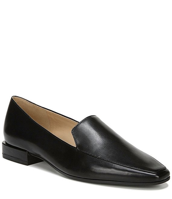 Color:Black Leather - Image 1 - Clea Leather Block Heel Loafers