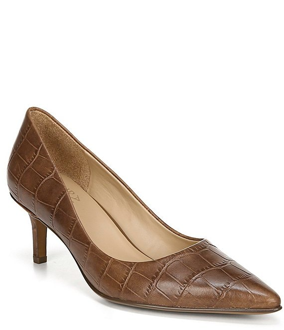 Color:Banana Bread Croco - Image 1 - Everly Croc Print Leather Kitten Heel Pump