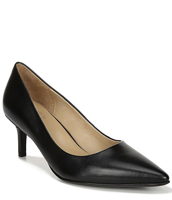 Color:Black Leather - Image 1 - Everly Leather Kitten Heel Pumps