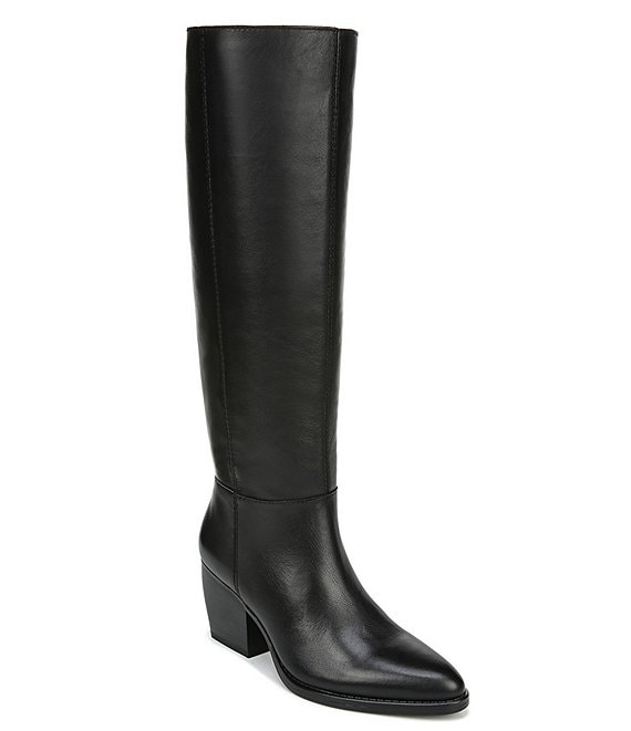 Color:Black WC - Image 1 - Fae Slouch Leather Wide Calf Block Heel Boots