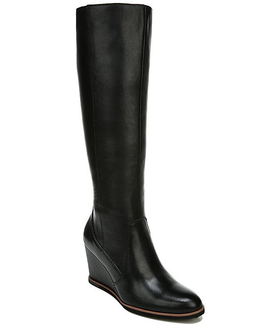 Color:Black Leather - Image 1 - Gemini Leather Tall Shaft Wedge Boots