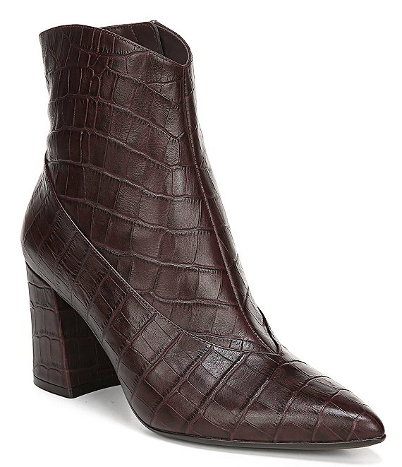Naturalizer Hart Croco Print Leather Dress Booties