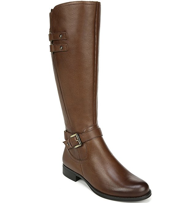 Color:Cinnamon Leather - Image 1 - Jackie Tall Leather Block Heel Riding Boots