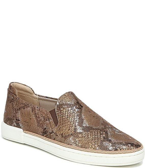Color:Chestnut Snake - Image 1 - Jade Snake Print Leather Slip-On Sneakers