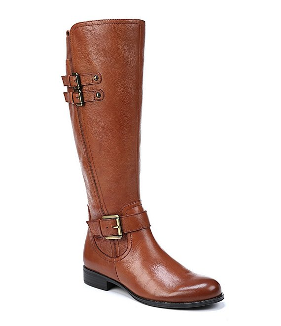 Color:Banana Bread - Image 1 - Jessie Tall Leather and Buckle Block Heel Riding Boots
