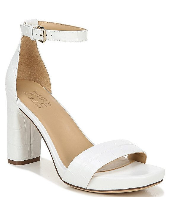 Color:White Croco - Image 1 - Joy Crocodile Embossed Leather Ankle Strap Dress Sandals