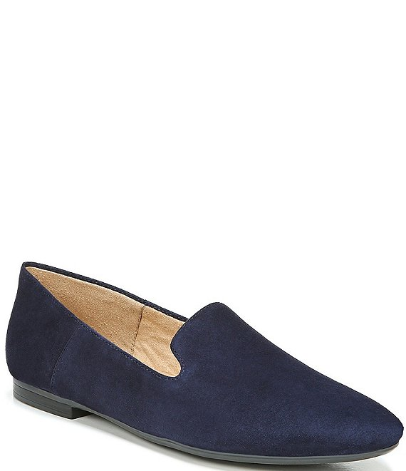 Color:French Navy - Image 1 - Lorna Collapsible Back Suede Flats