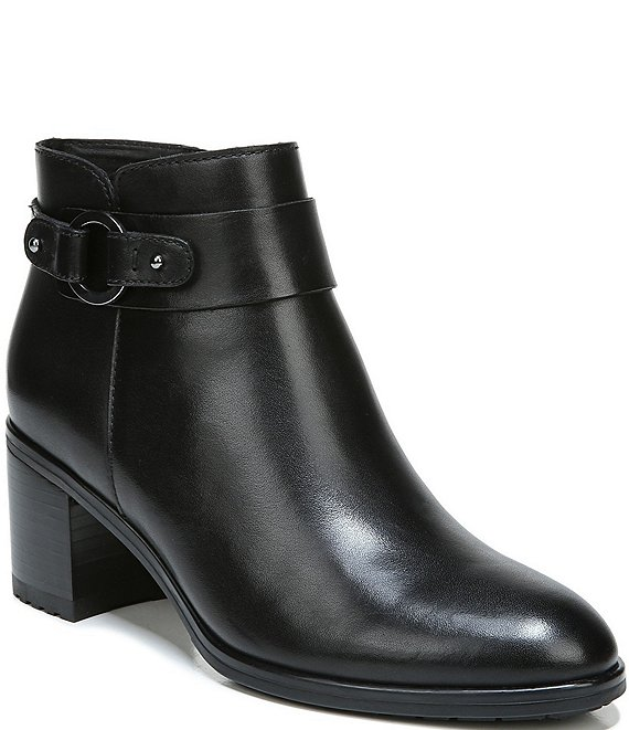 Naturalizer Lydia Leather Buckle Detail Block Heel Booties