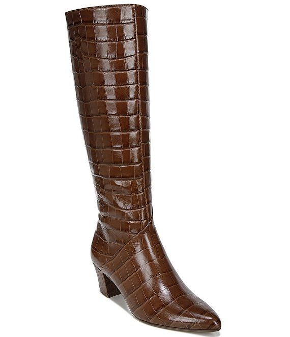 Color:Lodge Brown Croc - Image 1 - Melanie Croc Print Leather Tall Shaft Boots