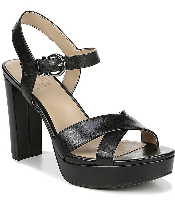Color:Black Leather - Image 1 - Mia Metallic Platform Block Heel Dress Sandals