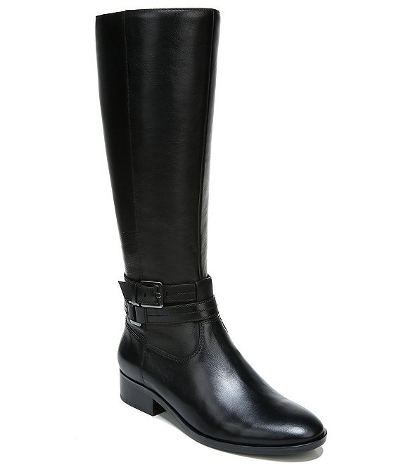 Color:Black - Image 1 - Reid Wide Calf Leather Tall Block Heel Boots