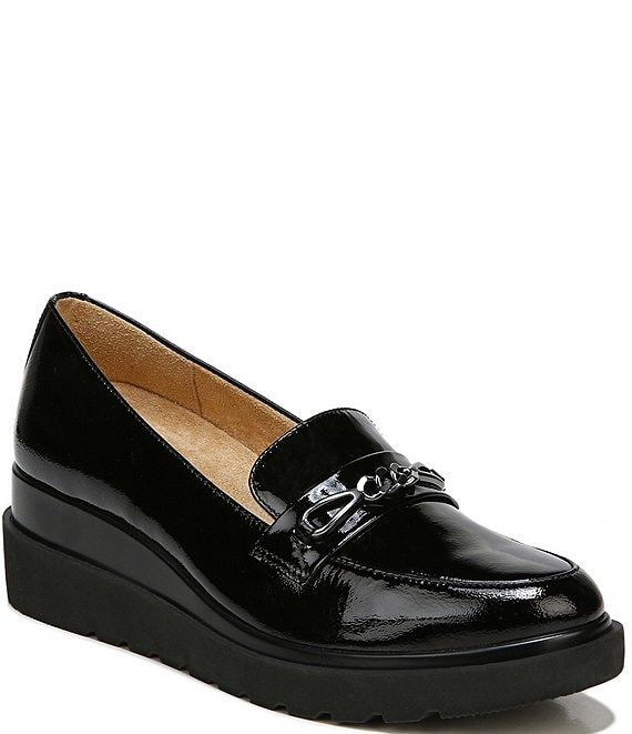 Color:Black Patent - Image 1 - September Patent Leather Wedge Loafers