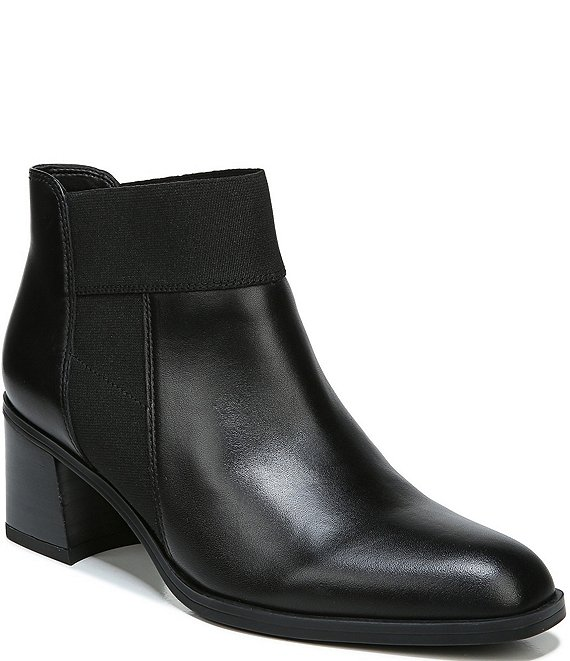 Color:Black Leather - Image 1 - Story Leather Block Heel Ankle Booties