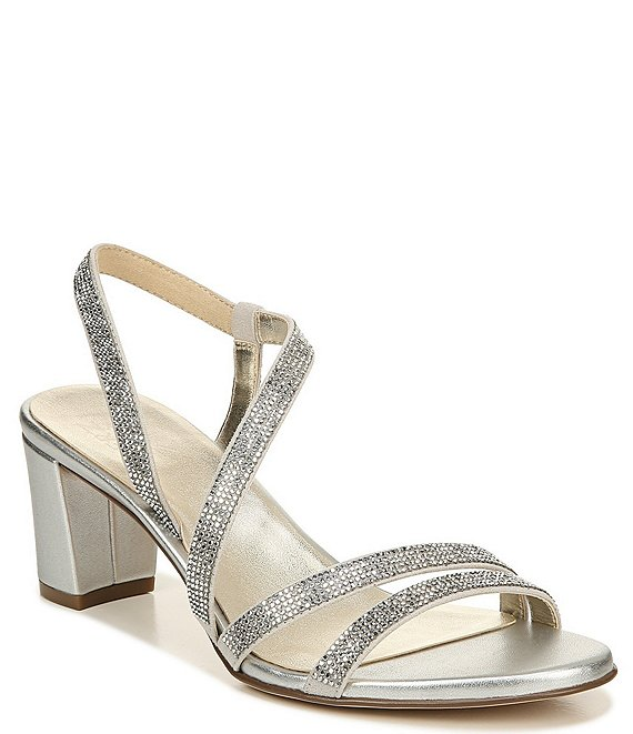 Color:Silver - Image 1 - Vanessa Strappy Crystal Detail Block Heel Evening Dress Sandals