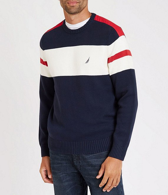 Nautica Big & Tall Challenger Stripe Long-Sleeve Sweater