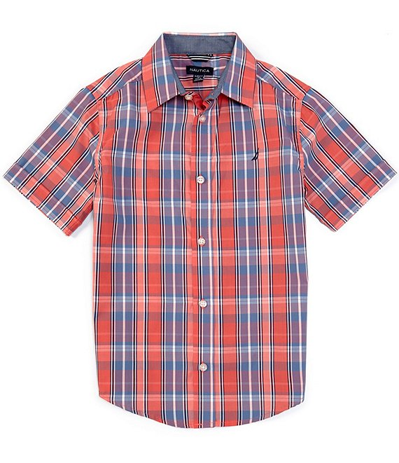 Nautica Big Boys 8-20 Short-Sleeve Plaid Woven Shirt