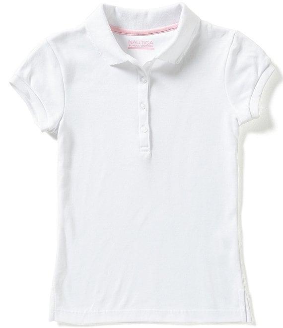Nautica Girls School Uniform Short Sleeve Polo with Ruffle Placket