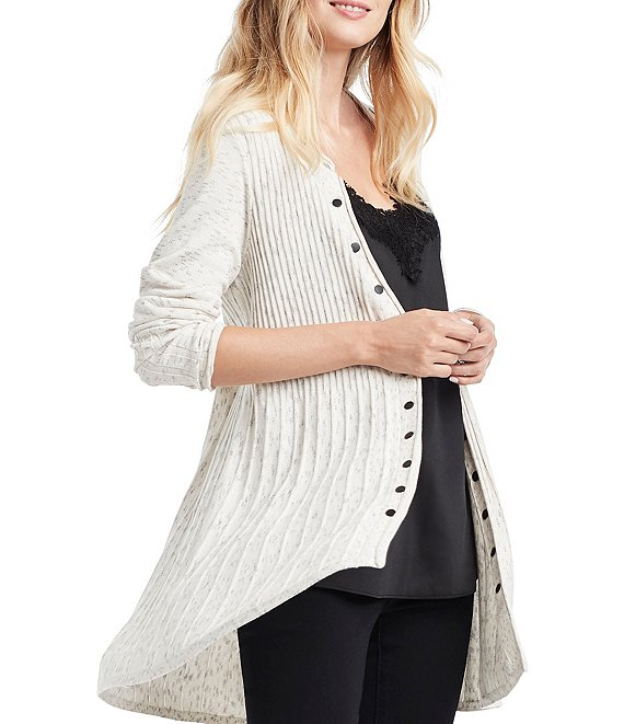 Color:Neutral - Image 1 - Rivet Twirl Long Sleeve Snap Front Cardigan