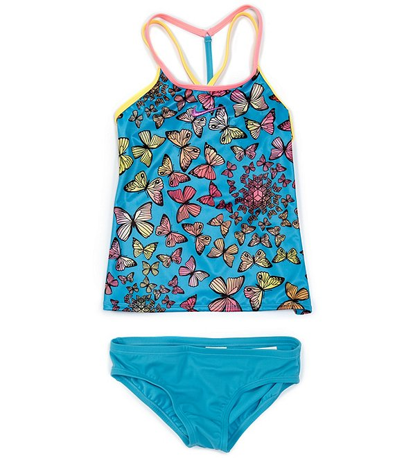 Color:Chlorine Blue - Image 1 - Big Girls 7-16 Butterfly-Print Tankini Two-Piece Swimsuit