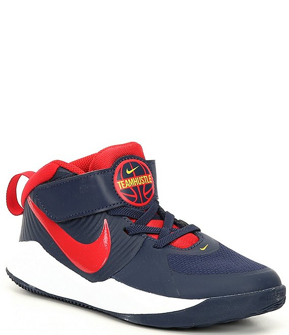 Color:Midnight Navy/White/University Red - Image 1 - Boys' Team Hustle D 9 PS Basketball Shoes (Youth)