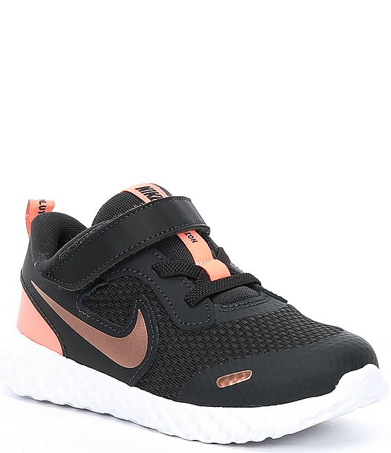 Color:Dark Smoke Grey/Metallic Red Bronze - Image 1 - Girls' Revolution 5 TDV Running Shoes (Toddler)
