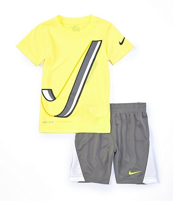Color:Smoke Grey - Image 1 - Little Boys 2T-7 Short-Sleeve Dropset Tee & Pieced Shorts Set