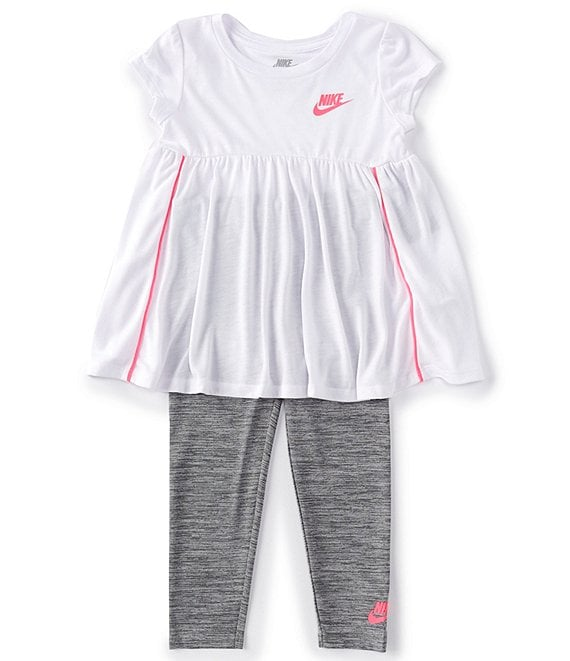 Color:Carbon Heather/White/Hyper Pink - Image 1 - Little Girls 2T-4T Short-Sleeve Drapey Tunic & Cross-Dye Leggings Set