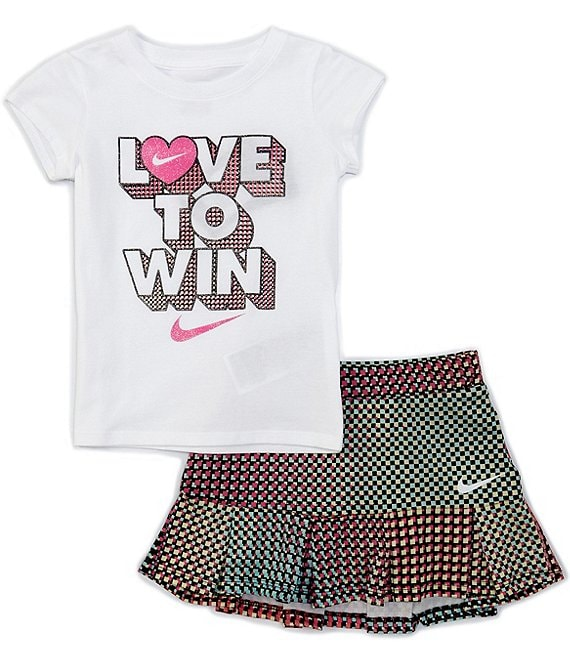 Nike Little Girls 2T-6X Short-Sleeve Love To Win Tee & Pixel Pop Skooter Set