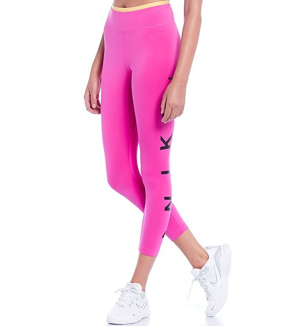 Color:Fire Pink/Topaz Gold/Black - Image 1 - One Icon Clash Sweat Wicking 7/8 Tights