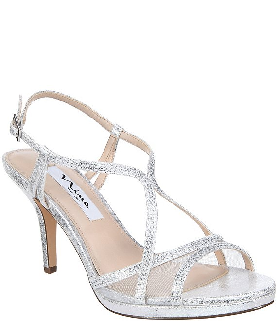 Color:Silver - Image 1 - Blossom Rhinestone Detail Metallic Suede Dress Sandals