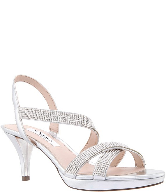 Color:Silver - Image 1 - Nizana Jeweled Strappy Metallic Dress Sandals