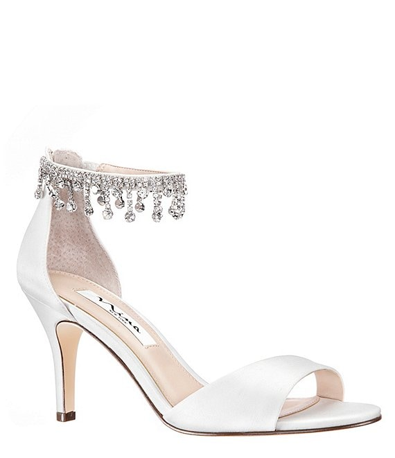 Color:Ivory - Image 1 - Vera Satin Dress Sandals
