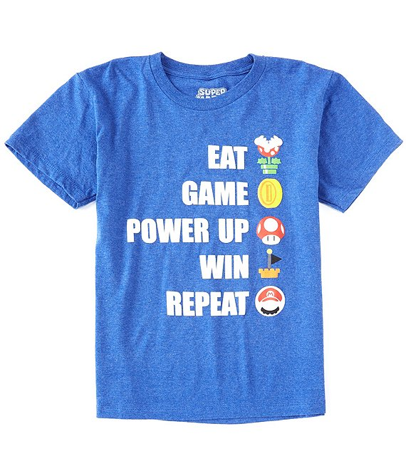 Nintendo Big Boys 8-20 Short-Sleeve Mario Eat Game Win Repeat Tee