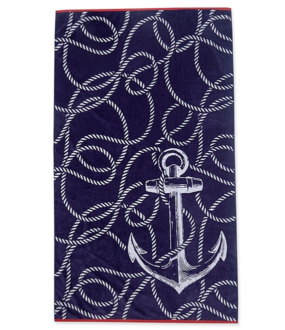 Color:Multi - Image 1 - Outdoor Living Collection Anchor's Away Velour Beach Towel