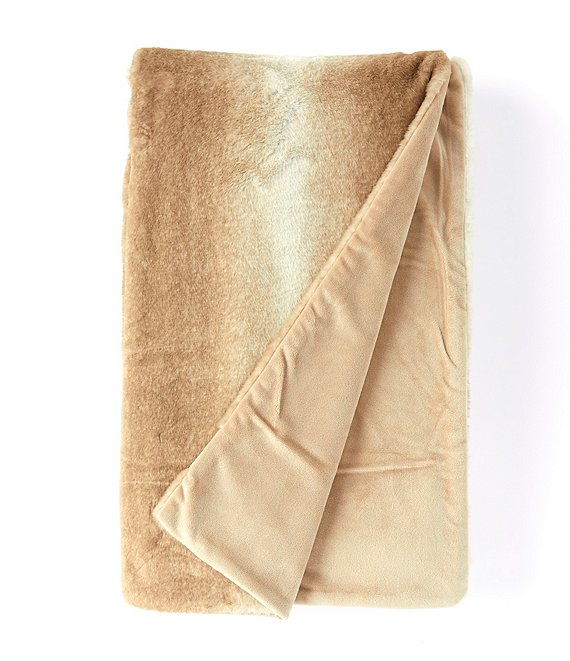 Noble Excellence Warm Shop Collection Anastasia Striped Bunny Faux Fur Throw