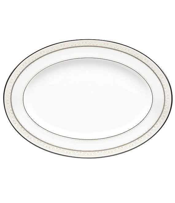 Noritake Montvale Scroll Platinum Bone China Oval Platter