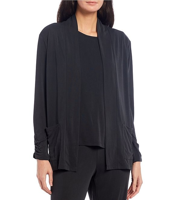 Color:Charcoal - Image 1 - Easy Essential Solid Jersey Knit Cardigan