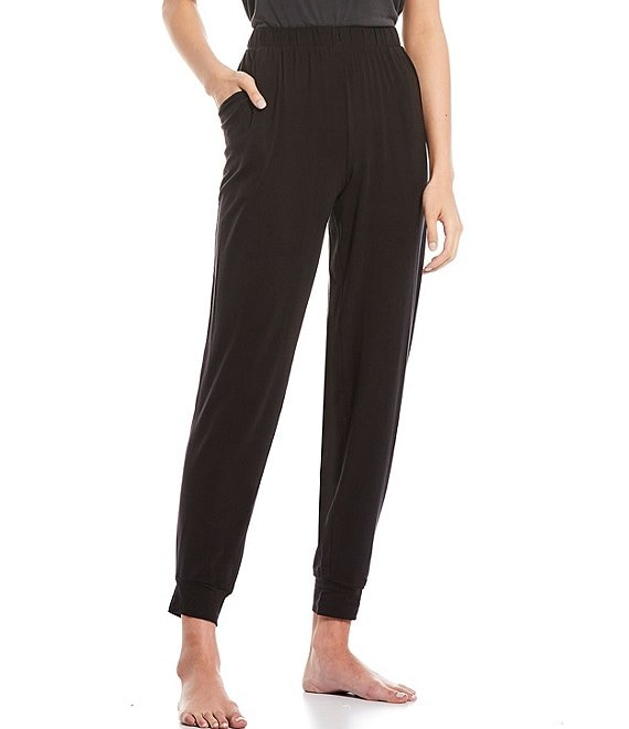 Color:Black - Image 1 - Solid Jersey Knit Pants