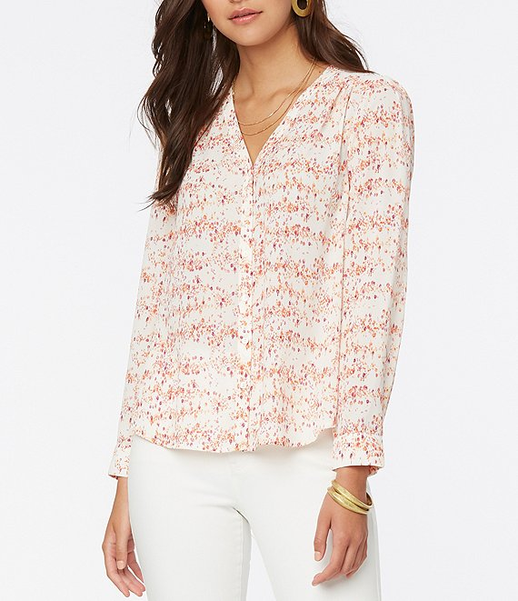 Color:Rosemead - Image 1 - Bouquet Floral Print Smocked Details V-Neck Long Sleeve Button Down Blouse