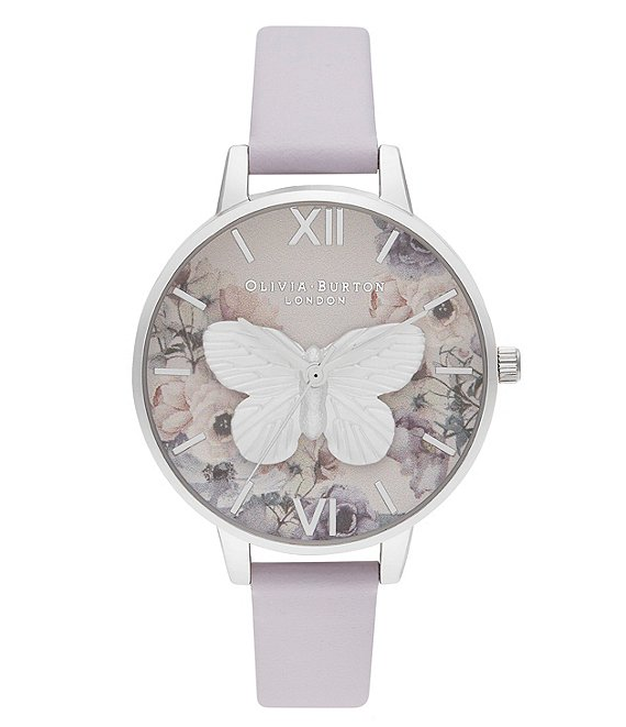 Olivia Burton 3D Butterly Parma Violet & Silver Watch